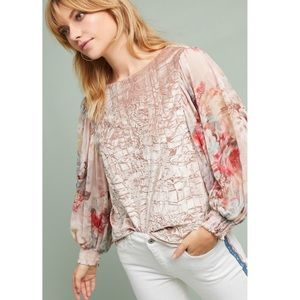 Anthropologie Floral Sleeve Velvet Top XS